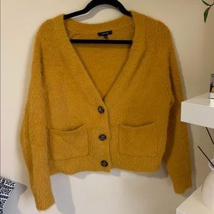 Yellow mustard cropped button up sweater fuzzy